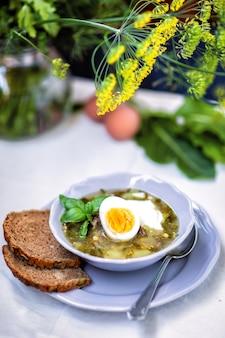 Minestra verde con acetosa e uovo alimento caldo.