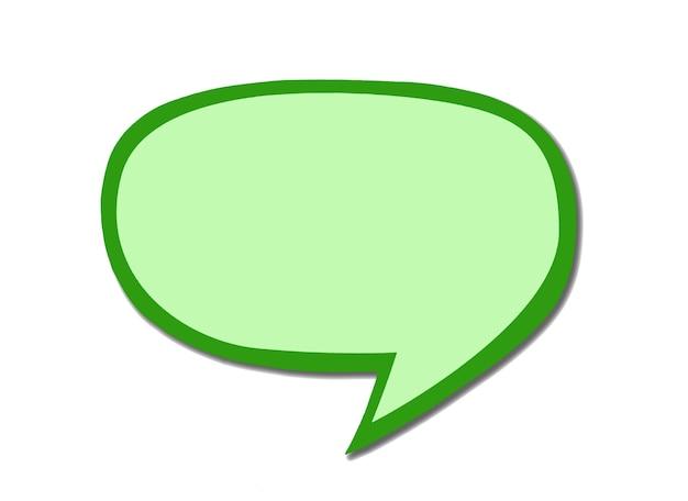 Segno di bolla di discorso verde come una nuvola isolata su sfondo bianco. simbolo di massaggio oliva vuoto per chattare con lo spazio della copia.