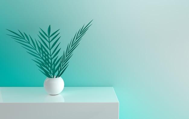 Parete verde con scrivania bianca e foglie di palma di carta nel vaso