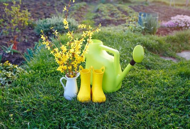 Annaffiatoio verde, stivali gialli, bellissimi fiori gialli in un vaso bianco stanno sull'erba verde.