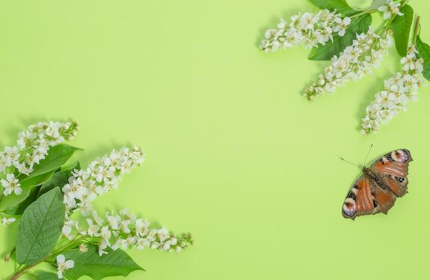 Biglietto di auguri, fiori delicati su un verde