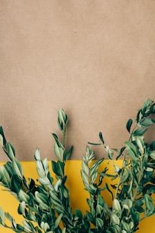 La cartolina d'auguri con i rami verdi ha asciugato i fiori, spazio della copia