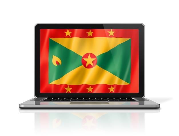 Bandiera di grenada sullo schermo del computer portatile isolato su bianco. rendering di illustrazione 3d.