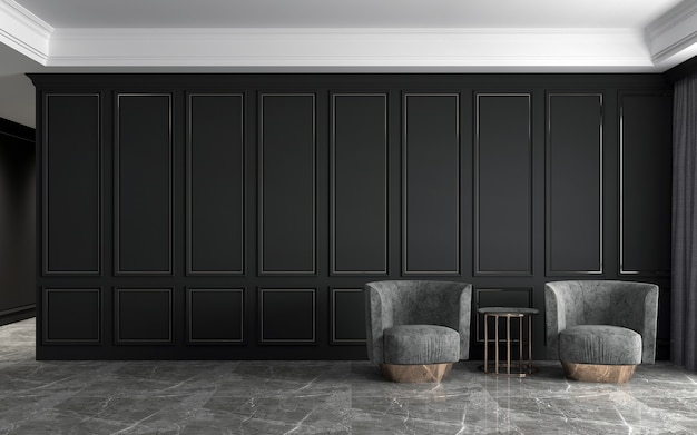 Poltrone grigie su pavimento in marmo, soffitti eleganti bianchi e soggiorno a parete elegante nero
