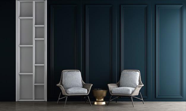 Sedie grigie nell'interno del soggiorno e sfondo blu del modello della parete