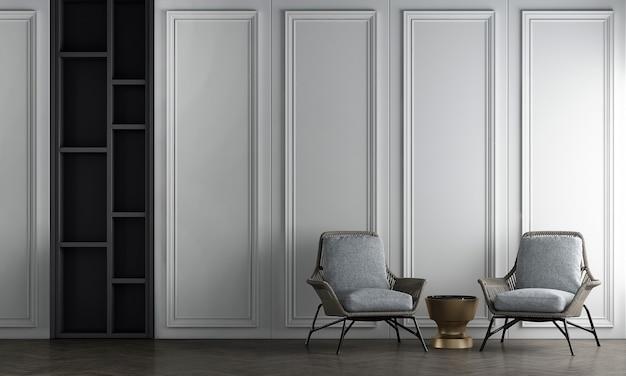 Sedie grigie nell'interior design moderno del soggiorno e sfondo con motivo a parete bianca