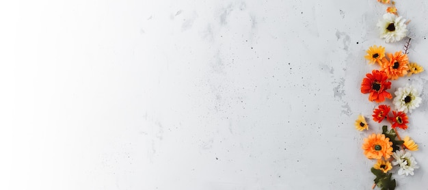 Banner di sfondo piatto in cemento grigio con capolini colorati autunnali
