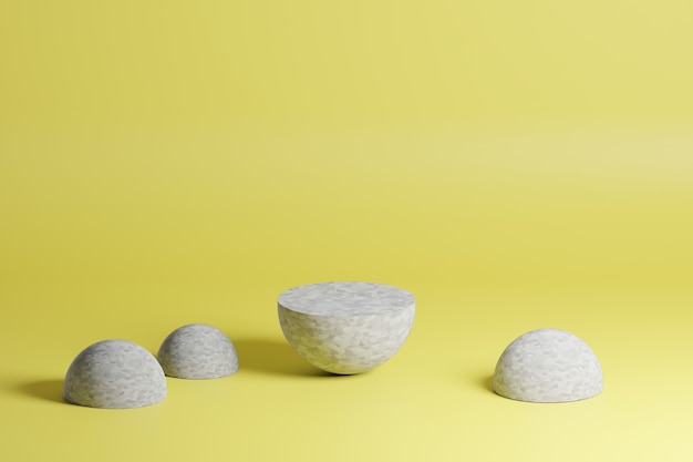 Forme geometriche grigie su sfondo giallo nella scena di modellazione 3d