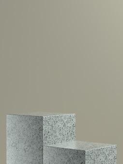 Palco o podio del cubo di marmo grigio con sfondo a parete marrone chiaro per banner o promo del prodotto. illustrazione 3d
