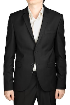 Grigio mens giacca due bottoni abbottonati, camicia bianca senza cravatta, codice di abbigliamento cocktail isolato su sfondo bianco.