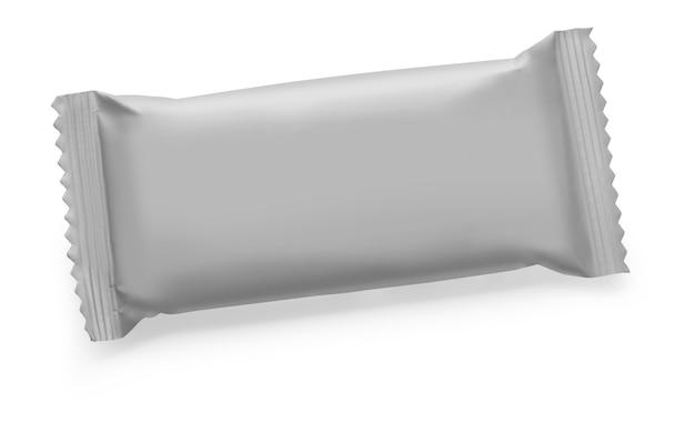 Pacchetto grigio isolato su bianco con tracciato di ritaglio