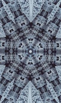 Caleidoscopio di stelle grigie. geometria senza soluzione di continuità. fiore tappeto grigio. caleidoscopio beige per bambini. chiesa di vetro colorato. modello di design bohémien grigio. immagine verticale.