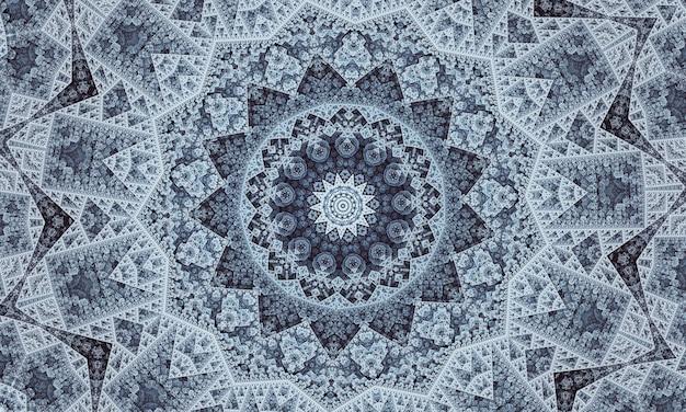 Caleidoscopio di stelle grigie. geometria senza soluzione di continuità. fiore tappeto grigio. caleidoscopio beige per bambini. chiesa di vetro colorato. modello di design bohémien grigio.