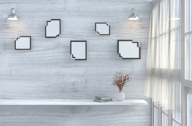 Decorazioni in soggiorno grigio-bianco con parete in legno bianco, finestra, tavolo, rosone, mock up, tendaggio. 3d