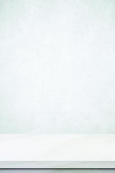 Piano del tavolo in marmo grigio e bianco per lo sfondo dell'esposizione dei prodotti da cucina.