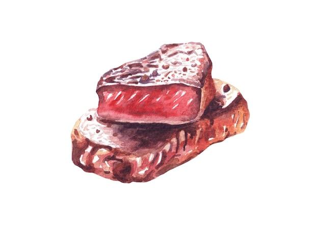 Bistecca di manzo alla griglia. illustrazione disegnata a mano dell'acquerello, isolata su fondo bianco