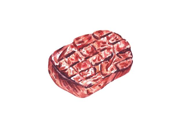 Bistecche di manzo alla griglia. illustrazione disegnata a mano dell'acquerello, isolata su fondo bianco