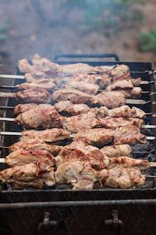 Kebab alla griglia alla griglia, all'aperto