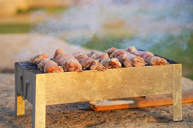 Grigliare shashlik sulla griglia del barbecue. petto di pollo delizioso del primo piano sulla griglia del barbecue. satay di pollo allo spiedo arrostito su una griglia a carbone affumicato
