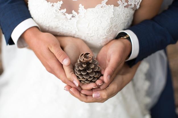 Lo sposo abbraccia la sposa in una pineta, le mani che tengono un grumo