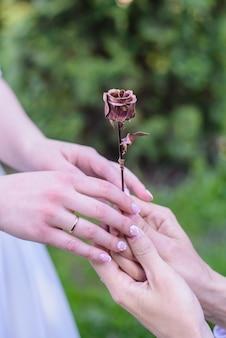 Lo sposo regala alla sposa una rosa forgiata da un primo piano in metallo