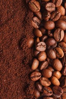 Caffè macinato da vicino sul tavolo