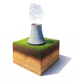 Terra con torre di raffreddamento della centrale nucleare