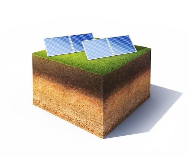 Terra con pannelli solari su bianco