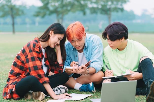 Un gruppo di studenti asiatici sta studiando nel parco