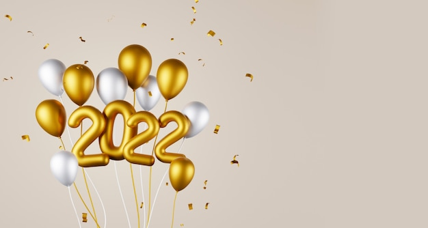 Gruppo di palloncini e anno 2022 e copia spazio 3d rendering