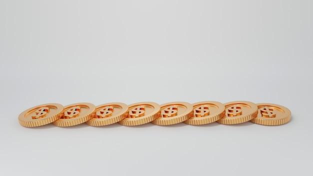 Gruppo di piegatura monete d'oro crudo isolato su sfondo bianco, rendering 3d illustration