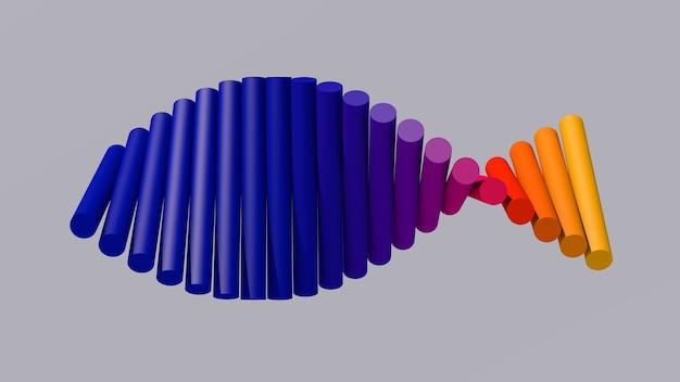 Gruppo di cilindri blu, arancioni e gialli rotanti. illustrazione astratta, rendering 3d.