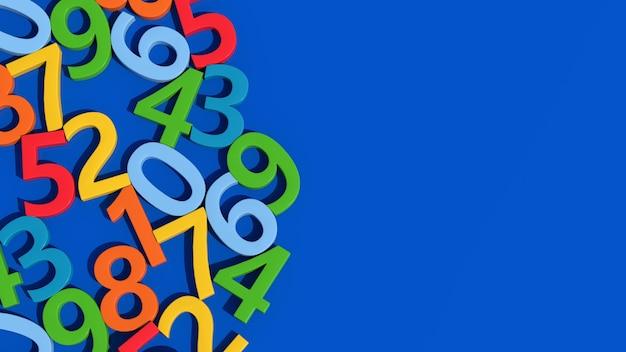 Gruppo di numeri colorati luminosi. sfondo blu, primo piano. illustrazione astratta, rendering 3d.