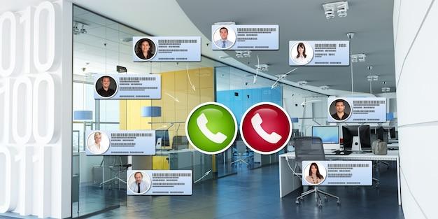 Gruppo di uomini d'affari che hanno una riunione virtuale in un ufficio moderno