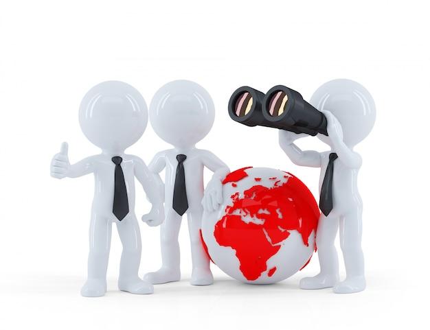 Gruppo di persone di affari con il globo e il binocolo.