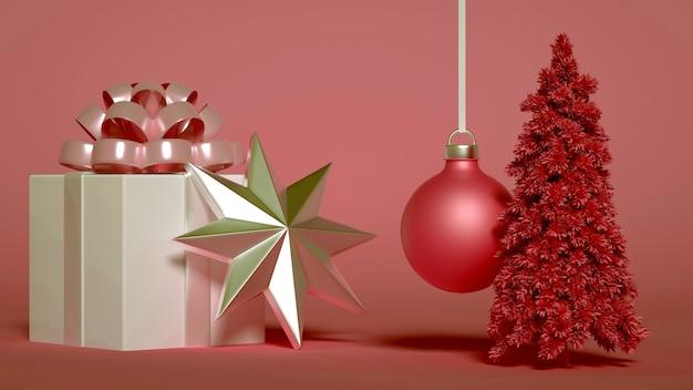 Un gruppo di addobbi natalizi con regalo e albero