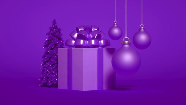 Un gruppo di addobbi natalizi con regalo