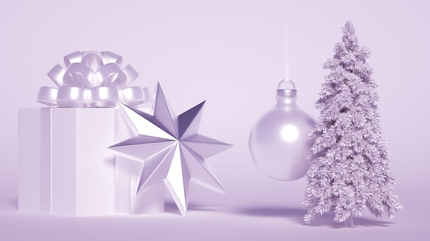 Un gruppo di addobbi natalizi con albero