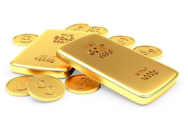 Gruppo di monete e lingotti d'oro piatti