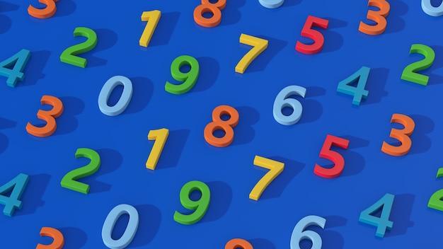 Gruppo di numeri colorati. sfondo blu, illustrazione astratta, rendering 3d.