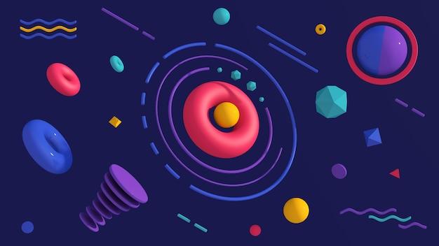 Gruppo di forme colorate. sfondo blu. illustrazione astratta, rendering 3d.