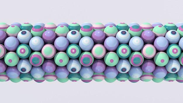Gruppo di palline a strisce colorate. sfondo bianco. illustrazione astratta, rendering 3d.