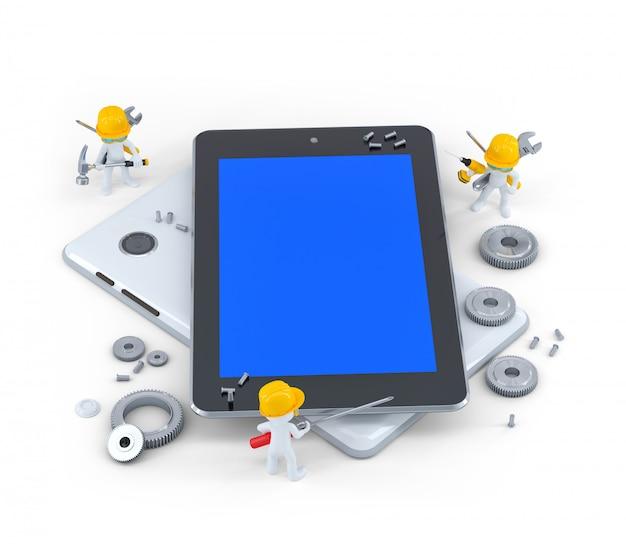 Gruppo di muratori con computer tablet