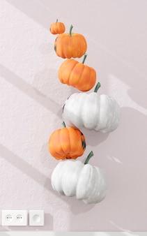 Gruppo di decorazione di zucche volanti. decorazione di halloween
