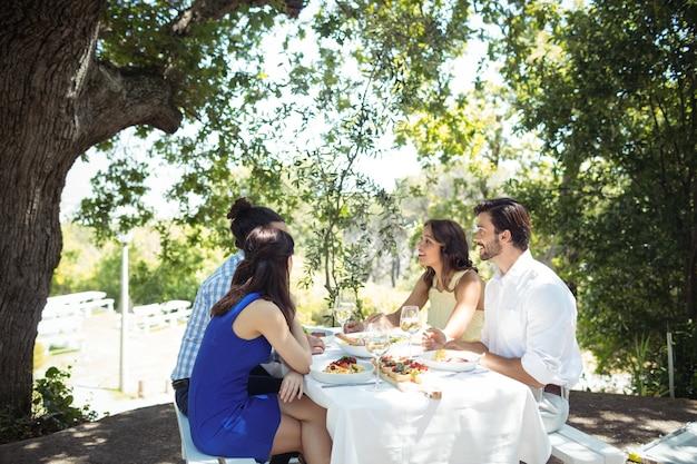Gruppo di amici che interagiscono tra loro mentre pranzano insieme