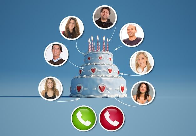 Un gruppo di amici in una videochiamata intorno a un rendering 3d di torta di compleanno