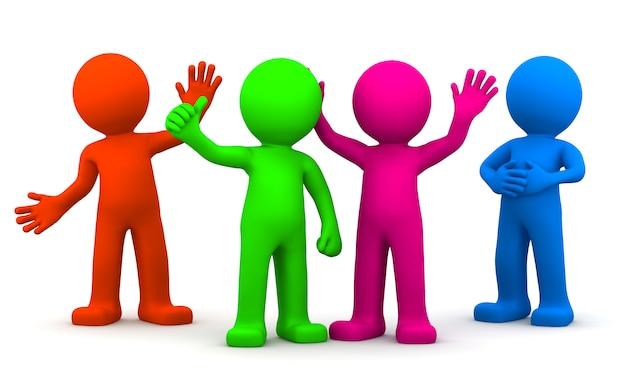Gruppo di divertenti personaggi 3d colorati