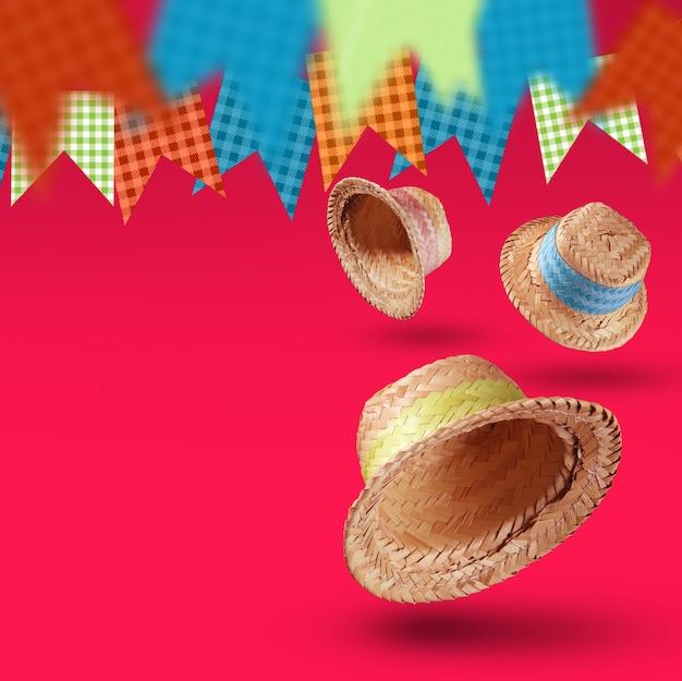 Gruppo di cappelli della festa junina, tipica festa brasiliana su sfondo rosa. messa a fuoco selettiva.