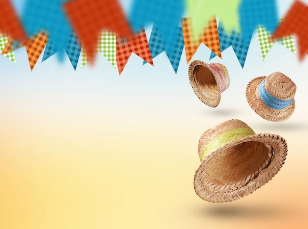 Gruppo di cappelli della festa junina, tipica festa brasiliana su sfondo giallo. messa a fuoco selettiva.