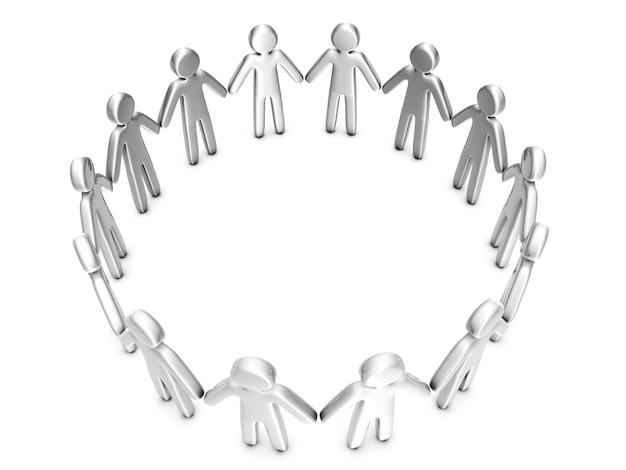 Un gruppo di persone icona in piedi in cerchio.